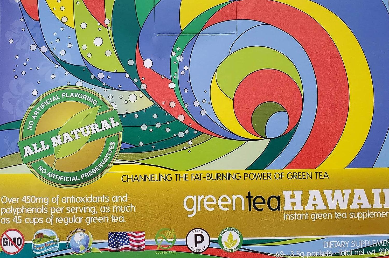 Green Tea Hawaii (Raspberry Lemonade) Powder with Noni, 60 Packets, 540 mg of Antioxidants/Polyphenols, Non-GMO, Vegan Friendly, Gluten Free All Natural Tasty Drink