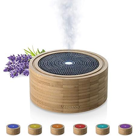 Medisana AD 625 Diffusore di Aromi In Bambù, Nebulizzatore in Legno con Luce Benessere in 6 Colori, per Oli Essenziali Profumati, Lampada Profumata con Timer, 100 m