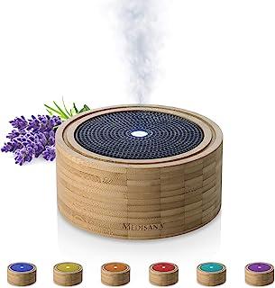 Medisana AD 625 Difusor de Aromas de bambú, nebulizador de Madera con luz de Bienestar en 6 Colores, para aceites Esenciales aromáticos, lámpara aromática con Temporizador, 100 ml