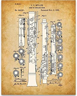 Oboe Patent - 11x14 Unframed Patent - Perfect Music Room Decor and Great Gift Under $15 for Band Director, Musician