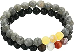 Discovery Duo Black Agate and Labradorite Beaded Bracelet Set