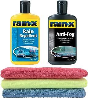 Rain X - Tratamiento de vidrio repelente de lluvia y antivaho (2 unidades, 3 paños de microfibra)