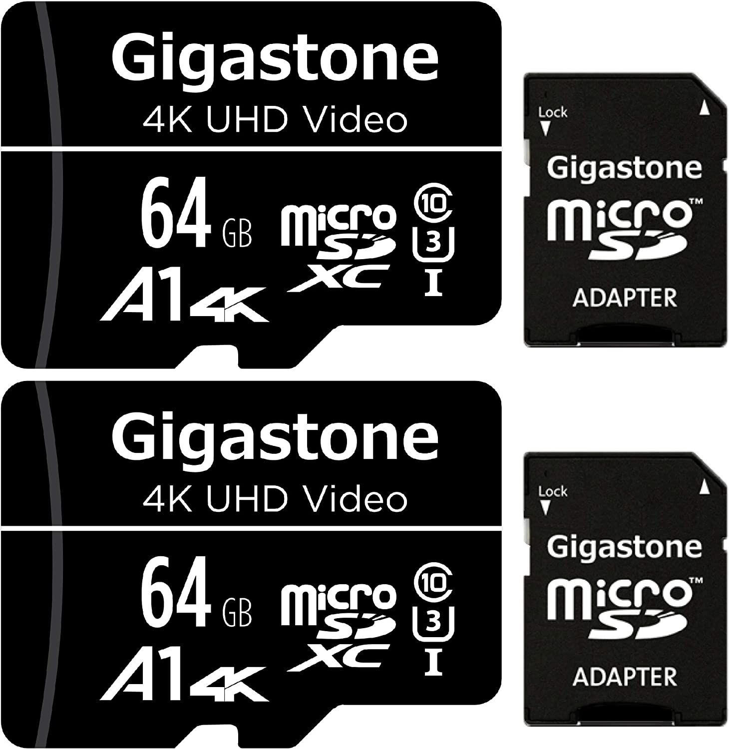 Gigastone 64GB 2-Pack Micro SD Card, 4K UHD Video, Surveillance Security Cam Action Camera Drone Professional, 90MB/s Micro SDXC UHS-I U3 Class 10