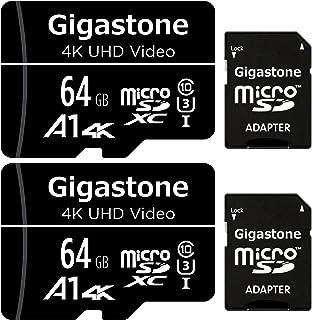 Gigastone マイクロSDカード 64GB 2個セット Micro SD card SDアダプタ付き U1 C10 SDXC 90MB/S 4K Ultra HD 撮影