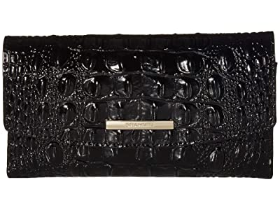 Brahmin Melbourne Modern Checkbook Wallet (Black) Wallet Handbags