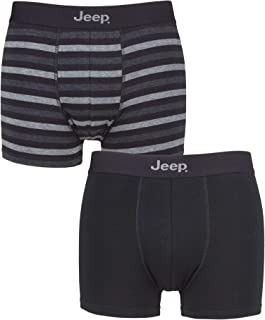 Jeep Mens Plain and Striped Fitted Trunks Pack of 2