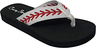Cocomo Soul Baseball Embroidered Fabric Canvas Flip Flops Baseball Mom Flip Flops Baseball Sandals Baseball Flip Flops for Women