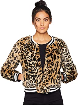 Clever Girl Leopard Faux Fur Bomber