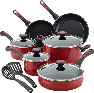 Paula Deen Riverbend Nonstick Cookware Pots and Pans Set, 12 Piece, Red Speckle