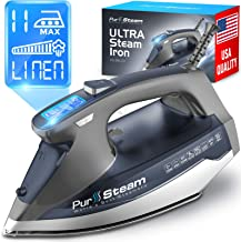 PurSteam Professional Grade 1800-Watt Steam Iron with Digital LCD Screen, 3-Way Auto-Off, Double-Layer Ceramic Soleplate, ...