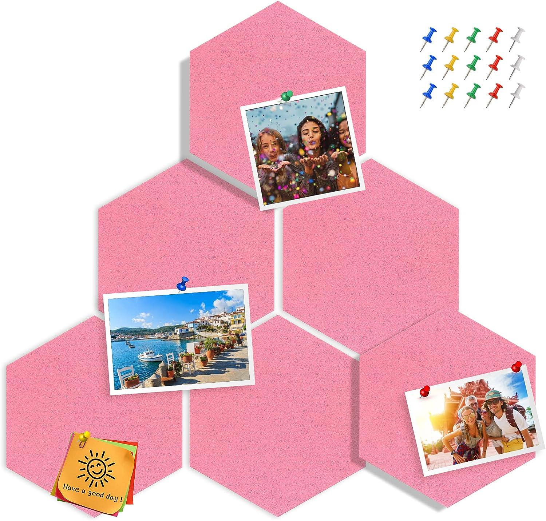 online shop Tikea Hexagon Felt Bulletin Max 43% OFF Boards Pack 6 Sel Memo Notice
