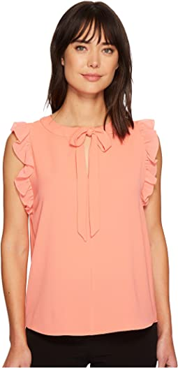 Cap Flutter Sleeve Blouse with Bow Tie