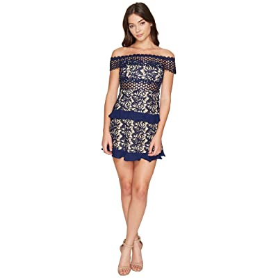 ROMEO & JULIET COUTURE Off the Shoulder Solid Color Lace Dress (Navy) Women