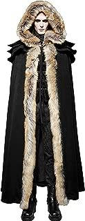 Punk Rave Black Winter Warm Gothic Wool Faux Fur Collar Long Cape Cloak for Men
