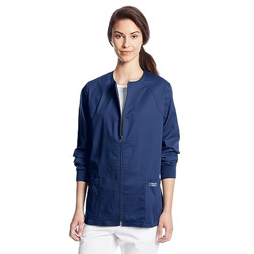 c6928086c71 Cherokee Women's Workwear Scrubs Core Stretch Zip-Front Warm-Up Jacket