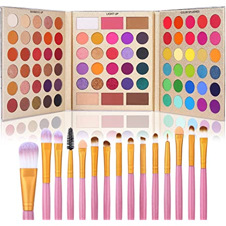 UCANBE Professional 86 Colors Eyeshadow Palette with 15pcs Makeup Brushes Set Matte Glitter Long Lasting Highly Pigmented Waterproof Contour Blush Powder Highlighter All in One