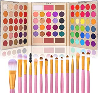 UCANBE Professional 86 Colors Eyeshadow Palette with 15pcs Makeup Brushes Set Matte Glitter Long...