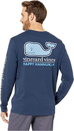 Long Sleeve Hanukkah Fill Pocket Tee
