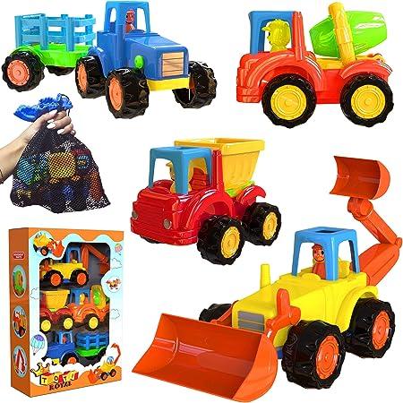 Juego De 4 Excavadoras De Dibujos Animados Tractor Mezclador De Cemento Camión Volquete Con Bolsa De Malla Para Niños Y Niñas De 1 A 5 Años Toys Games
