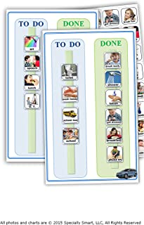 90 Photos Pictures & 2 Visual Schedule Task Chart Board for Autism, daily routine, chores and responsibilities, promotes great behavior and independency