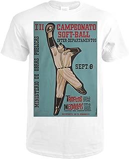 Campeonato Soft - Ball Inter - Departamentos Vintage Poster (artist: Rivadulla) Cuba 58116 (Premium White T-Shirt X-Large)