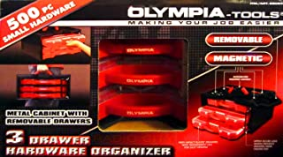 Olympia Tools Metal Cabinet with 3 Removable Drawer - 500 Piece Small Hardware Organizer