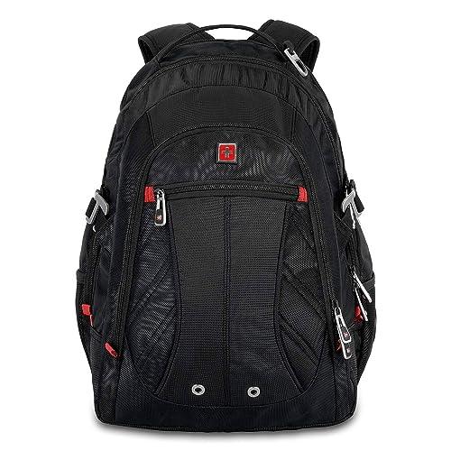 """Swisswin Laptop Notebook Rucksack Daypack Schulrucksack Backpack Multifunktion Business Taschen Freizeit Rucksack Arbeits Schultasche,für Herren Männer Schüler,Jungen Teenager,Schule,15.6"""",Schwarz"""