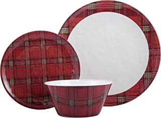 Melange 608410091382 12-Piece 100% Dinnerware Set for 4 Christmas Collection-Red Plaid Shatter-Proof and Chip-Resistant Melamine Dinner Plate, Salad Plate & Soup Bowl (4 Each), 10.5