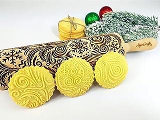 FROST Nudelholz Geprägte Teigrolle mit Muster für Hausgemachtes Gebäck von Algis Crafts