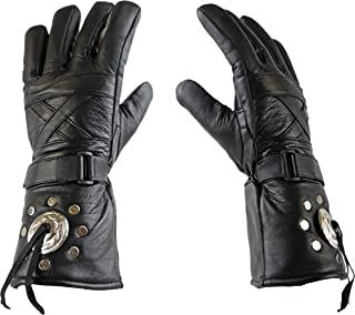 IKLeather Motorcycle Leather Biker Club Gauntlet Gloves (M)