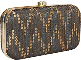 Hand Crafted Designer Box Clutch with Zari Embroidery Work on Silk Texture Specially Designed