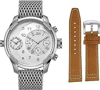 ساعة جي 3 وورلد ترافلر مع 16 الماسة وسوارين قابلين للتبديل للرجال من جيه بي دبليو