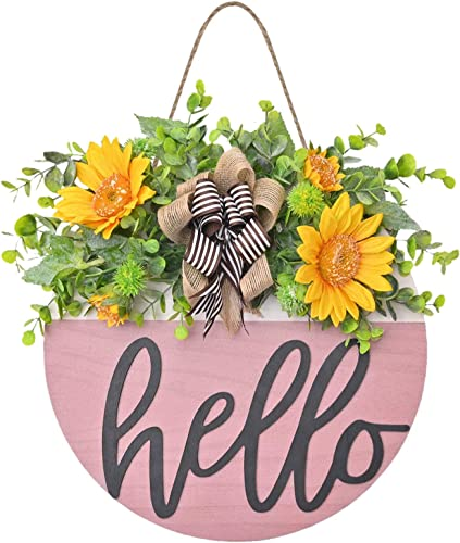"""wholesale Welcome 2021 Sign for Front Door Wooden Hanging Decoration Hello Sign with Sunflower Swag and Bow Spring Summer Welcome Wreath Front Porch Outdoor Restaurant Home outlet online sale Decor, 12"""" online"""
