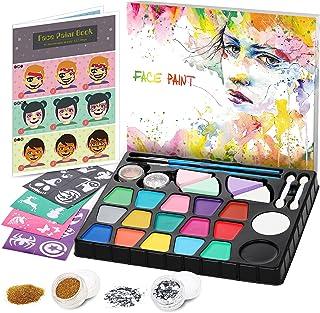 lenbest Set de Pintura Cara Infantil, Pintura Facial 17 Colores, Mayor Capacidad Blanco y Negro, con 1 Folleto Tutorial Pi...