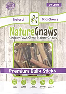 Nature Gnaws Small Bully Stick Bites 2-3 inch - 100% Natural Beef Dog Chews
