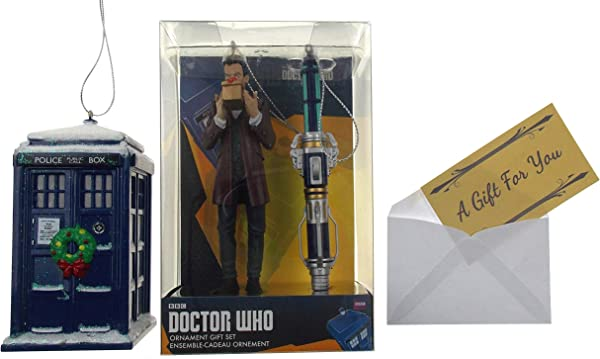Hickoryville Doctor Who 12th Doctor Sonic Screwdriver Tardis With Christmas Wreath 3 Piece Ornament Bundle