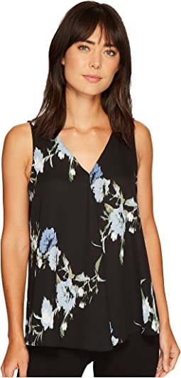 Vince Camuto - Sleeveless Windswept Bouquet V-Neck Drape Front Blouse