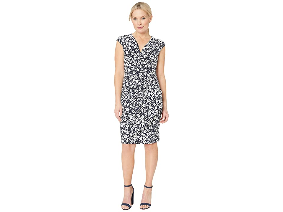 LAUREN Ralph Lauren B801 Minden Floral Matte Jersey Rodya Cap Sleeve Day Dress (Lighthouse Navy/Colonial Cream) Women
