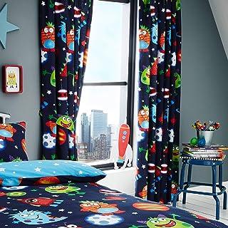 Set de cortinas infantiles - Estampado del espacio - Brilla en la oscuridad - Azul - 168 x 183 cm