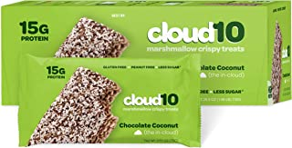 Cloud10 High Protein, Gluten Free, Dairy Free, Kosher, No Artificial Sweeteners, Peanut Free, Non-GMO, Marshmallow Crispy Treats, Chocolate Coconut (Pack of 10)