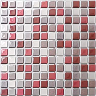 APSOONSELL 3D Self Adhesive Wallpaper Mosaic Kitchen Decorative Sticky Paper Mosaic Square Wallpaper, 9.3 x 9.3 inch (Set of 4)