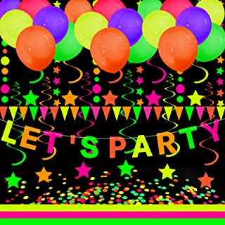 Black Light Party Supply, ZALALOVA Neon Star Paper Garland Banner Hanging Decorations, Black Light Party Supply Glow-in-Th...