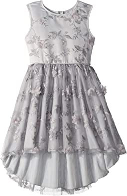 Lurex Tulle High-Low Dress w/ 3D Flowers (Little Kids/Big Kids)