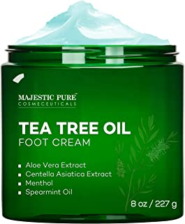 MAJESTIC PURE Athletes Foot Cream with Tea Tree Oil, Aloe & Spearmint - Hydrates, Softens & Conditions Dry Cracked Feet, H...