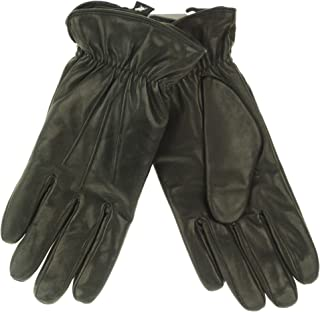 Mens Black Thinsulate Lined Leather Gloves- Size Medium