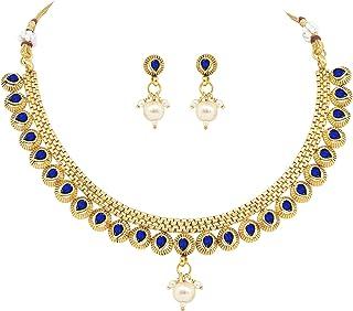 طقم مجوهرات من Jewelsiya مطلي بالذهب على شكل قطرة دمعة زرقاء كوندان هندية وطقم مجوهرات القرط للنساء والفتيات