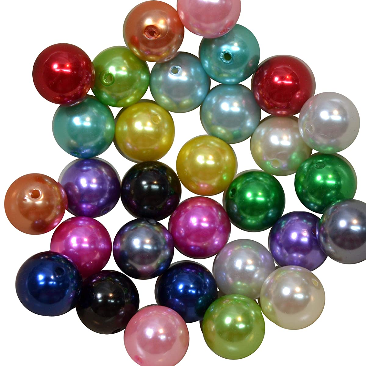 20mm Bulk Mix of Faux Pearl Chunky Bubblegum Beads 15 Colors 120 Acrylic Gumball Beads