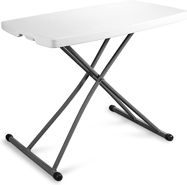 ZIMMER Personal Folding Table Sturdy And Durable Steel Frame Legs 4 Adjustable Heights Quick Fold Up Portable Table Weather And Impact Resistant For Indoor Outdoor Use 30x20 Inch White