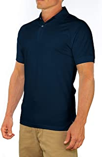 CC Perfect Slim Fit Polo Shirts for Men + Stretch | Breathable Sweat Wicking Short Sleeve Fitted Collared Mens Polo T Shirt