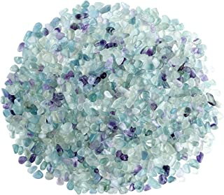 Top Plaza Natural Fluorite Tumbled Chips Crushed Stones Reiki Healing Quartz Crystals Irregular Shaped Gemstones 0.45lb